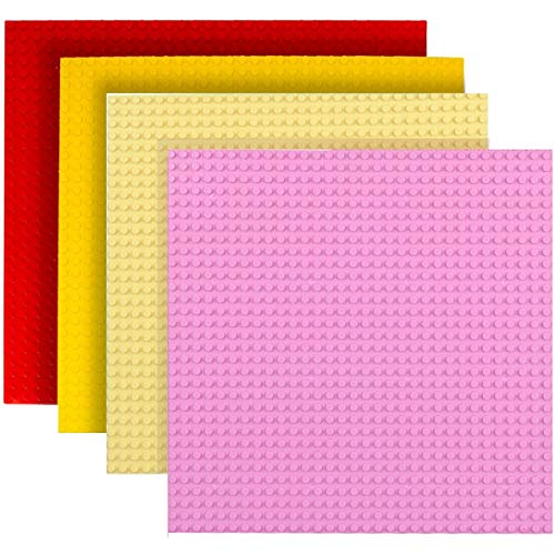 FunHaven 4 Pack Large Base Plates Brick Building Baseplates Boards for Girls Boys 32 x 32 Stud or 10 x 10 inch | Accessories Plate Bases | Compatible with Major Brands (Pink, LYellow, Red, Yellow)