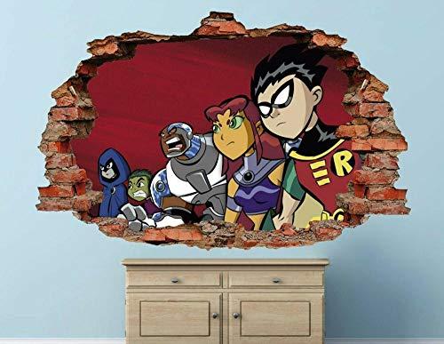 BAOJIAN Wall Sticker Teen Titans Wall Decal Kids Decoration Smashed 3D Sticker Art Vinyl