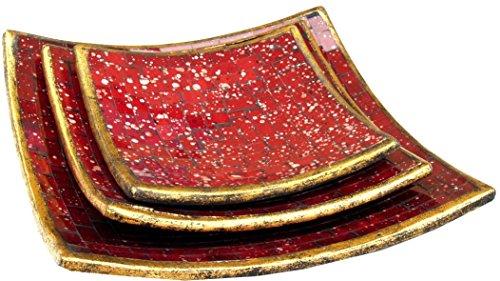 Guru-Shop Vierkante Mozaïek Schaal, Onderzetter, Decoratieve Schaal, Handgemaakte Keramische Glazen Fruitschaal - Ontwerp 1, Rood, Maat: Set van Drie, Kommen