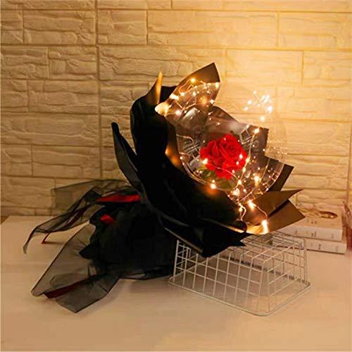 Bobo Luftballon LED Leuchtender Ballon-rosenstrauß - Led Leuchtender Ballon Mit Rose, Led Luminous Balloon Rose Bouquet Transparent Dekorieren Geschenk Für Weihnachten/Geburtstag/Hochzeitsfeier