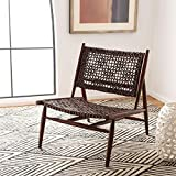 Safavieh Home Bandelier Brown and Brown Leather Weave Accent Chair
