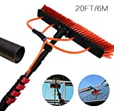 Water Fed Telescopic Brush,Truck Cleaning Brush,Extension Pole,Photovoltaic Panel Cleaning Greenhouse Roof Window Cleaning Trucks|3-9M 20FT/6M