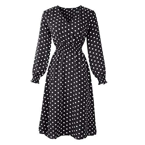 TEELONG Kleider Damen V-Ausschnitt Holiday Print Dress Damen Langarm Party Dress Ballkleid Partykleid Cocktailkleid(XXL, Schwarz)