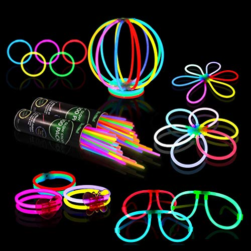Glow Sticks Bulk Party Supplies – 458 Piece Glow in The Dark Halloween Party Favors Pack for Kids/Adults with 200 Super Bright Glowsticks and Connectors for Bracelets, Necklaces, Glasses, Flower Balls