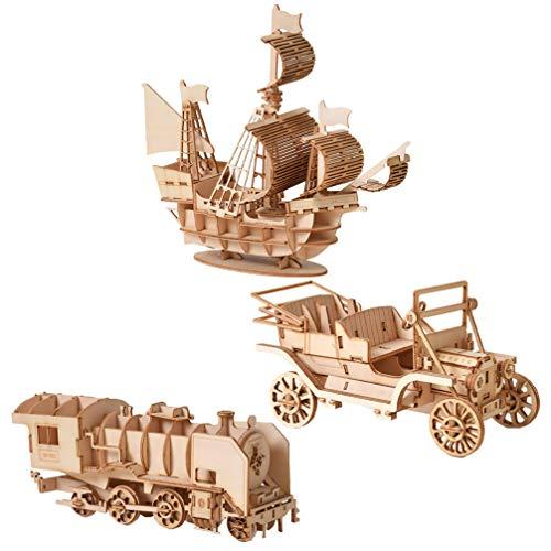 Exceart 3 Sets 3D Houten Puzzels Hout Hout Trein Boot Auto Mechanisch Model Speelgoed Diy Montage Puzzel Puzzel Speelgoed Voor Kinderen Volwassenen