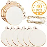 Jolik 40 Pieces Wooden Ornaments Unfinished, 3.5'Round Blank Wood Discs for DIY Christmas Ornaments
