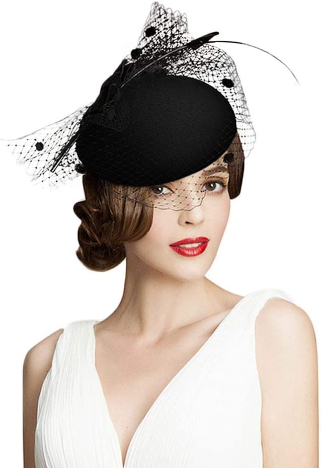 1950s Women's Hat Styles & History F FADVES 100% Australian Wool Pillbox Hat Black Veil Fedora Lepoard Print Fascinator  AT vintagedancer.com