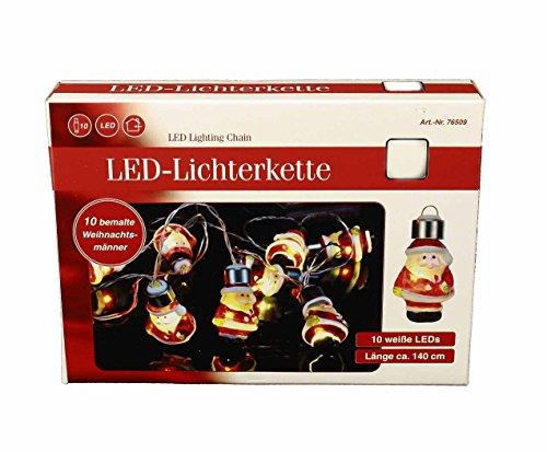 HAAC–Catena Luminosa LED Babbo Natale con Babbo Natale Figure dipinte a Mano 10Lunghezza 140cm per Babbo Natale