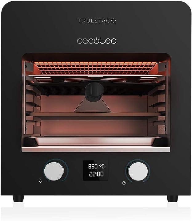 Forno per arrosti. 2200w, griglia in ghisa, vassoio in pietra per pizze cecotec txuletaco 8000 inferno B086L4Z8W6