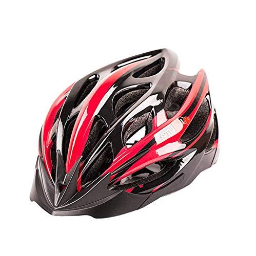 Casco de Bicicleta para Adultos Casco Bici Unisex Ajustable para Ciclismo de Montaña y Carretera Casco Bicicleta con Protección Seguridad para Hombres y Mujeres, Negro & Rojo