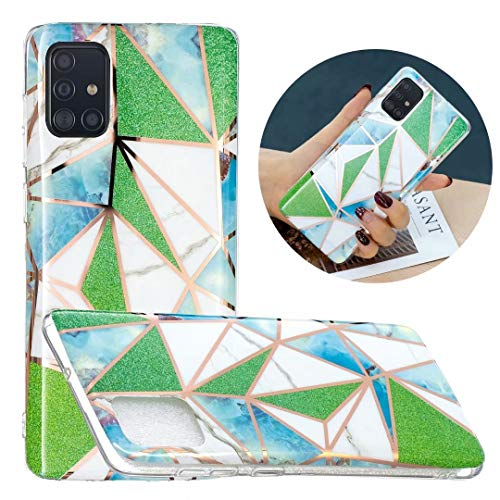 Funda Samsung A52 5G con purpurina y mármol, híbrida, delgada, a prueba de golpes, flexible, ultrafina, de gel suave, de silicona, para Samsung Galaxy A52, 5G, color verde