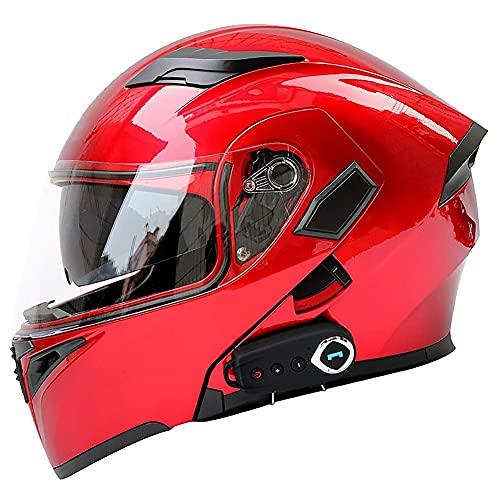 Casco Moto Modular Bluetooth Incorporado Casco Moto Integral ECE Aprobado Casco Scooter con Doble Visera Anti Vaho Ventilación para Adultos Hombre y Mujer 57~64cm