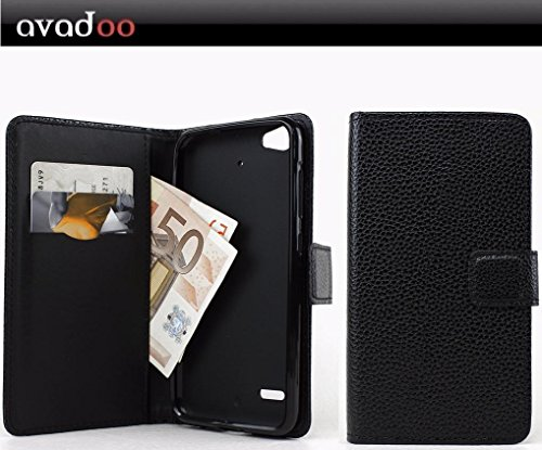 avadoo® Medion Life E5006 Flip Hülle Cover Tasche Schwarz mit Magnetverschluss & Dualnaht als Cover Tasche Hülle