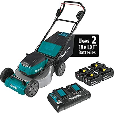 "Makita XML07PT1 (36V) LXT Lithium?Ion Brushless Cordless (5.0Ah) 18V X2 21"" Lawn Mower Kit with 4 Batteries, Teal"