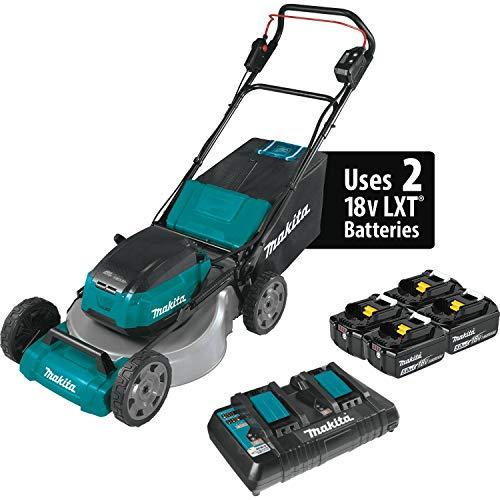 "Makita XML07PT1 (36V) LXT Lithium‑Ion Brushless Cordless (5.0Ah) 18V X2 21"" Lawn Mower Kit with 4 Batteries, Teal"