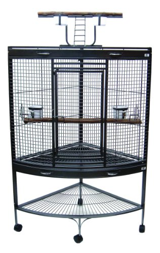 YML 3/4-Inch Bar Spacing Corner Wrought Iron Parrot Cage, 37-Inch by 26.5x62-Inch, Antique Silver, Box 1