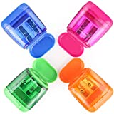 4 Pcs Pencil Sharpener, Dual Holes Sharpener with Protective Lid for Colored Pencils and Crayons, Colorful Pencil Sharpener Value Pack, Portable Pencil Sharpener for Students, Teachers, Office Workers