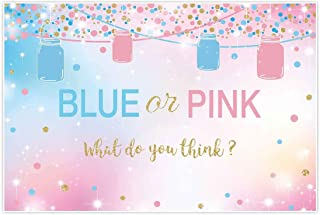Allenjoy 5x3ft Blue and Pink Gender Reveal Backdrop Girl or Boy Pregnancy Announcement Surprise Party Supplies Ideas Mason Jars Banner Candy Dessert Table Decorations Backdrops