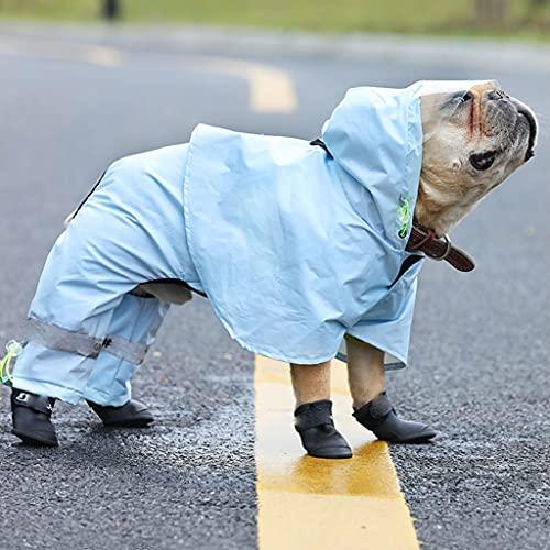 JYDQM Mascota Gatos Perro Impermeable con Capucha Reflectante Cachorro pequeño Perro Impermeable Chaqueta Impermeable para Perros Ropa para Perros (Color : Blue, Size : XX-Large)