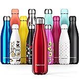 Proworks Botellas de Agua Deportiva de Acero Inoxidable | Cantimplora Termo con Doble Aislamiento para 12 Horas de Bebida Caliente y 24 Horas de Bebida Fría - Libre de BPA - 750ml – Rojo Metalizado