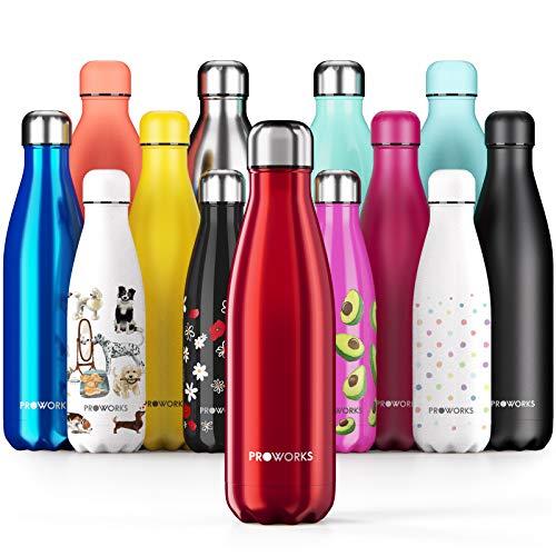 Proworks Botellas de Agua Deportiva de Acero Inoxidable | Cantimplora Termo con Doble Aislamiento para 12 Horas de Bebida Caliente y 24 Horas de Bebida Fría - Libre de BPA - 1L - Rojo Metalizado
