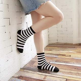 CYMTZ, 5 Pares/Paquete De Calcetines Clásicos De Algodón De Pata De Gallo para Mujer Calcetines A Cuadros Blancos Y Negros Vintage para Mujer Calcetines De Tubo con Rejillas De Rayas