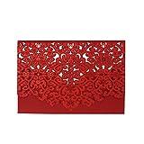 Wolfteeth 25 Invitaciones de papel para boda, tarjetas de felicitación, tarjeta con sobre, para compromiso, cumpleaños, fiestas, rojo 784404