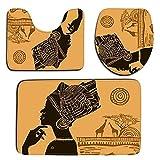 Juego de alfombras de baño con diseño de Mujeres africanas de 3 uds Alfombra Antideslizante para Tapa de Inodoro Alfombrilla Antideslizante