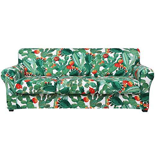 Hyha Funda elástica para sofá estampada – Diseño floral 4 piezas funda de sofá lavable con correa elástica para sofá de 3 cojines (Sofa, Cactus)