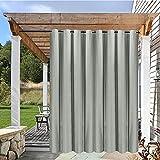 Outdoor Vorhang mit Ösen Wetterfest Wasserdicht Grau Aussenvorhang ,1 Stück UV Schutz Verdunkelungsvorhang für Terrasse,Balkon,pavillon,strandhaus,Garten Patio Outdoor Gardine