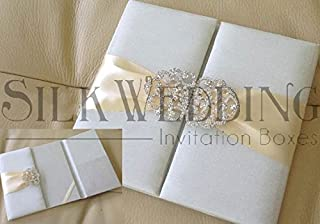Stunning Ivory Silk Invitation Folio With Enchanting Crystal Clasp