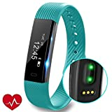 Photo Gallery pjx fitness tracker orologio con cardiofrequenzimetro, slim touch screen e polsini, indossabile impermeabile activity tracker contapassi per android e ios, blue