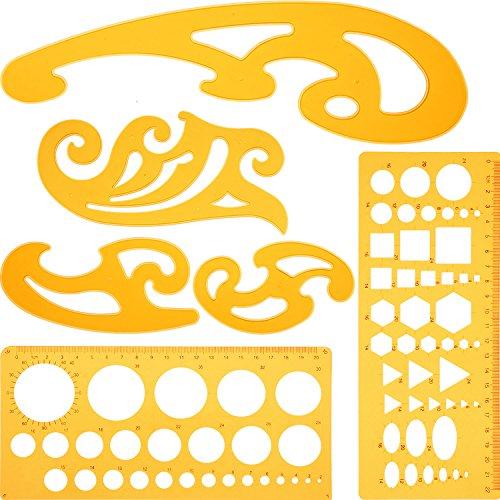 Blulu Juego de 6 Piezas de Regla Plantilla y Curva Francesa Herramienta de Plantilla de Dibujo Plantillas de Círculo para Estudio Artístico o Dibujo y Redacción Personal