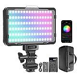 Neewer Luce LED RGB con Controllo via APP, 360° Colore Pieno CRI95+ Dimmerabile 3200-5600K 9 Scene d'Illuminazione con Batteria 2600mAh & Caricatore, per YouTube DSLR Videocamere Illuminazione