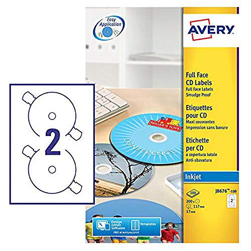 Avery J8676-100 Self-Adhesive Full Face CD Labels, 2 Labels Per A4 Sheet,...