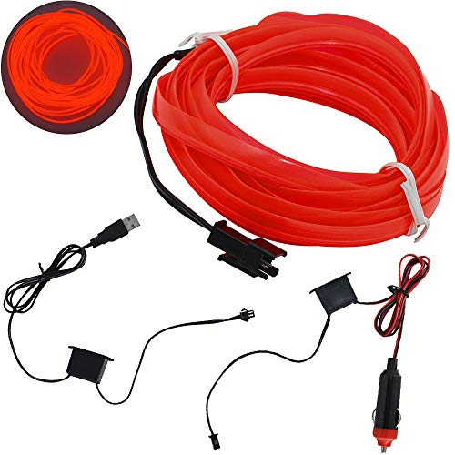 shunyang EL Wire Neon Lights for Cars Interior Exterior Cold Wire LED Lights DIY Decoration Strip Lights RED 4M 158 Inches 1Pcs