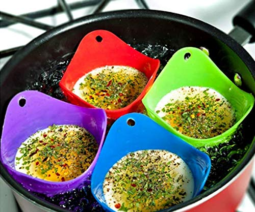 VNDEFUL 4 Pcs Silicone poached egg maker Egg Poaching Cups, For Microwave or Stovetop Egg Cooking, BPA Free, (Color Random)