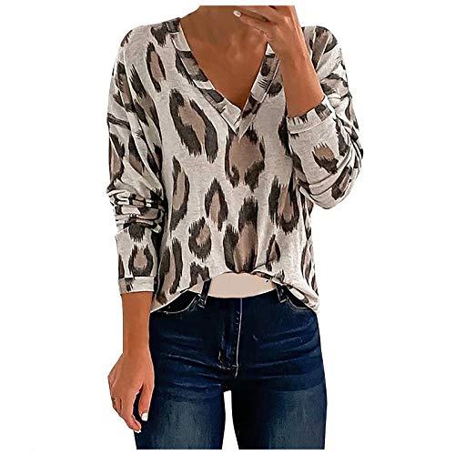 T-Shirt Hauts Sweat à Capuche Femme Manches Longues Pull Mode V-Neck Sweater Automne léger Tops Pullover Sportwear Chemise à imprimé léopard