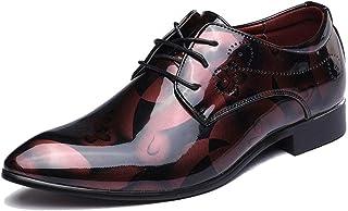 Scarpe Eleganti da Uomo in Pelle Verniciata con Lacci Business Flats Punta a Punta Derbys Matrimonio Formale Office Work O...