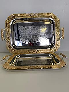 Luxury Linen Beautiful Decorative 2 Pieces Stainless Steel Tea & Coffee Serving Tray Gold/Silver Plated Serving Tray Rectangle Platter Glossy, Party Serving with Metal Handle (2226)