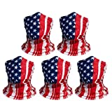 American flag face mask:You will receive 5 pcs red face masks designed with the American flag, 19 inches long and 9.5 inches wide, suitable for most people. High quality: Our masks are made of polyester microfiber fabric that absorbs moisture and wic...