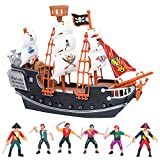 Edgewood Toys Pirate Ship Toy Set Including Crew of Pirate Figures  Detailed Toy Pirate Ship with 1 Dozen Plastic Pirate Action Figures  Perfect for Pirate Party Favors Or Inside Playtime  Ages 3+