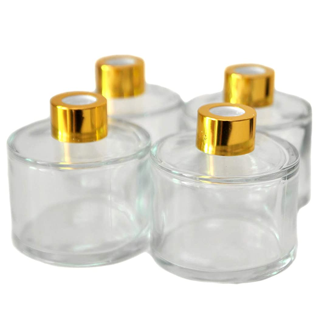 面オフセット控える4本入円筒形のアロマ精油拡散ボトル、100mlオフィス、ショップ、ホームアロマガラスボトル