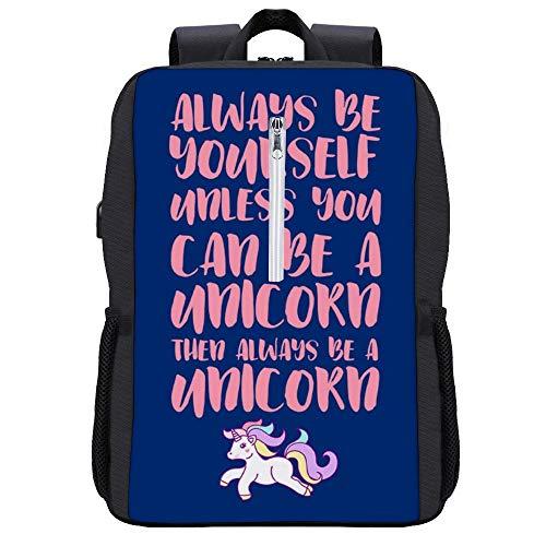 Always Be Yourself Unless You Can Be A Unicorn Pastell-Rucksack Tagesrucksack Büchertasche Laptop Schultasche mit USB-Ladeanschluss