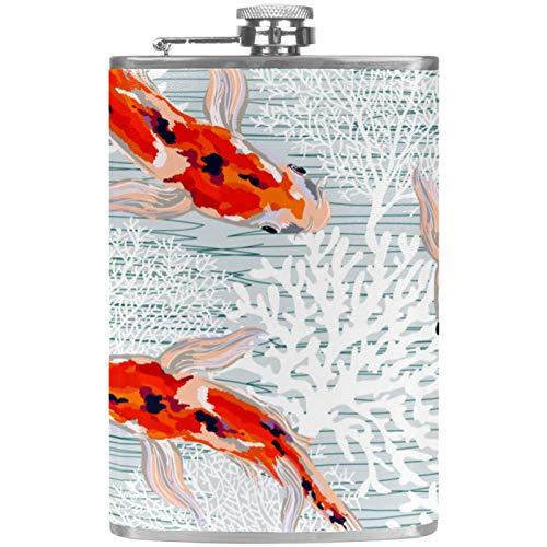 Flacher Likör-Flachmann mit Trichter, Edelstahl, 100 % auslaufsicher, graue Koralle, Goldfisch