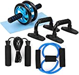5-in-1 Fitness Workout Set - AB Wheel Roller Addominali +2 Maniglie per flessioni + Corda per Saltare + Pinza Mano + Tappetino Fitness per Uomo/Donna Fitness,pesi palestra