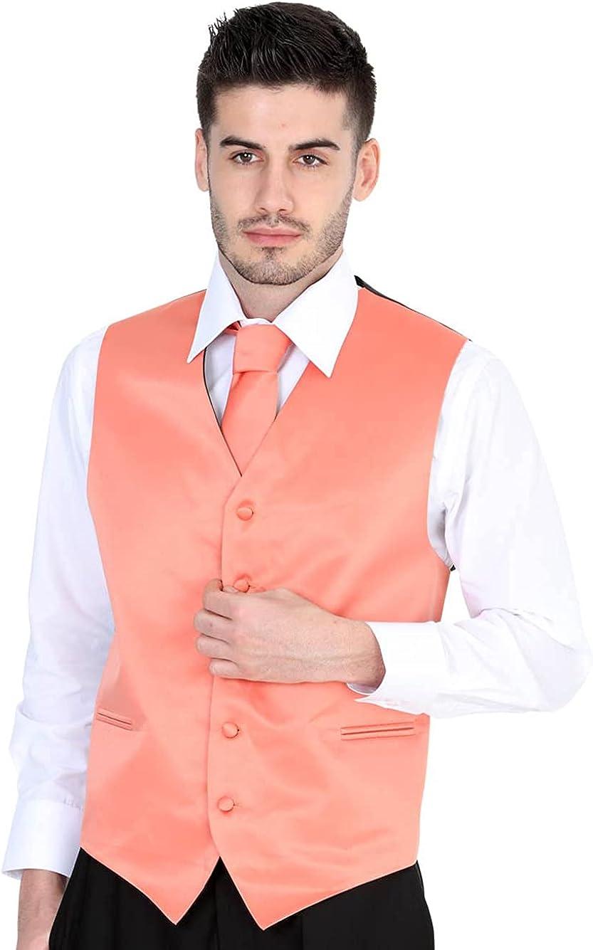 El General Men's Formal Dress Vest Color Coral 100% Polyester Five Buttons