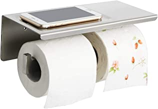 Alise Double Toilet Paper Holder Bathroom Tissue Roll Holder with Shelf,Two Installation of Self-Adhesive and Wall Drill,G...