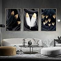 ブラックホワイトゴールデンフェザー抽象壁ポスター北欧キャンバスプリント絵画現代アート装飾写真リビングルーム12月40x60cmフレームなし