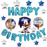 AChalks Sonic Cartone Animato Decorazioni per Feste di Compleanno Foglio Palloncino Banner Decorazioni Compleanno per Bambini Ragazzi Sonic Foil Balloon Banner Set Hedgehog Birthday Party Balloon